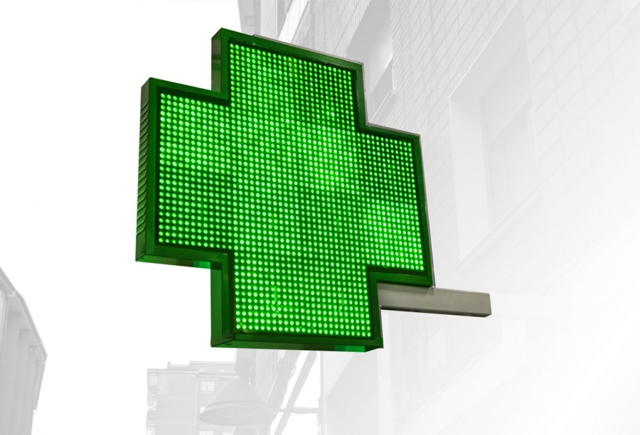 Cruz led grafitexto de farmacia